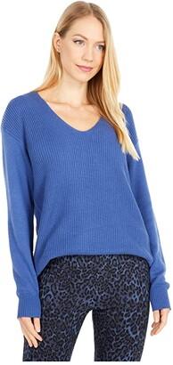 Elliott Lauren Easy V-Neck Modal Sweater with Side Seam Detail (Indigo) Women's Sweater
