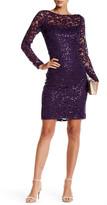 Marina Illusion Yoke Sequin Lace Sheath Dress