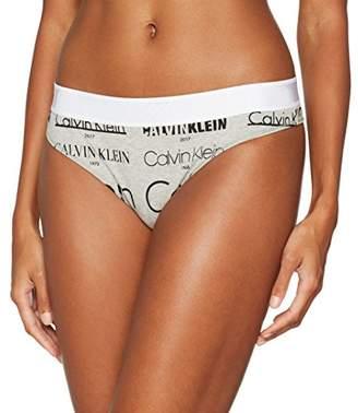 Calvin Klein Women's Thong, Heritage Logo Grey Heather/Black, 8 (Size: S)