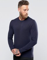 Paul Smith PS by Sweater With Contrast Trim Crew Neck In Navy