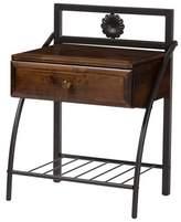 Baxton Studio Jevenci Vintage Antique Dark Bronze Metal And Wood 1-Drawer Nightstand - Walnut