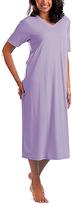 La Cera Lilac Long V-Neck Nightgown