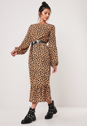 Missguided Stone Dalmatian Print Ruffle Hem Midi Smock Dress
