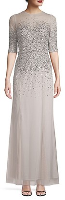 Adrianna Papell Illusion Sequin Gown