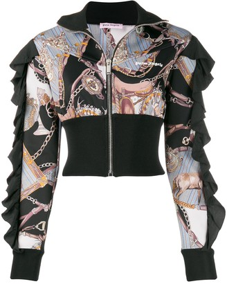 Palm Angels Chain Link Print Zipped Sweatshirt