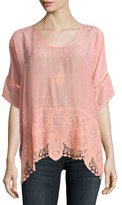 Princess Short-Sleeve Georgette Top, Coral Sunset, Plus Size
