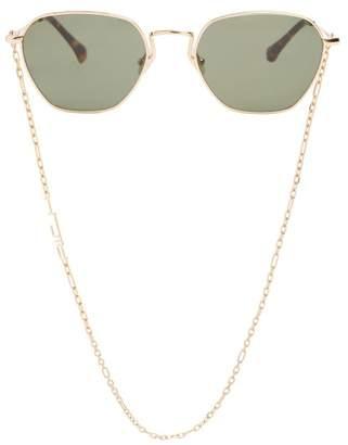 Linda Farrow X Alessandra Rich Square-frame Sunglasses - Womens - Green
