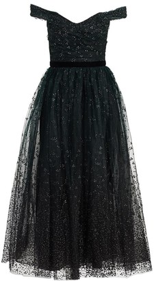 Marchesa Off-the-Shoulder Flocked Glitter Tulle Gown