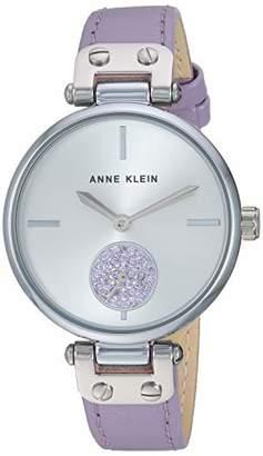 Anne Klein Women's AK/3381SVLV Swarovski Crystal Accented Silver-Tone and Lavender Leather Strap Watch