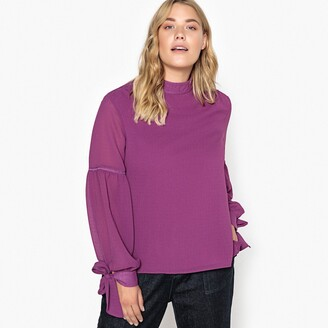 Castaluna Plus Size High-Neck Tied-Sleeve Blouse