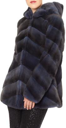 Zac Posen Diagonal Mink Hooded Jacket