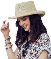 HomArt Women's Big Brim Braided Roll Up Sun Straw Caps Kentucky Derby Hat Ribbon Accent