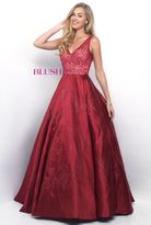 Blush Lingerie Impressive V-Neck Illusion Mikado A-Line Gown 7112