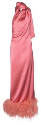 ATTICO Milva feather-trimmed satin gown