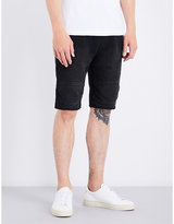 True Religion Black Timeless Moto Relaxed-fit Cotton Shorts