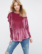 Asos Top with Exaggereated Ruffle in Velvet