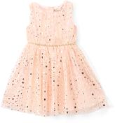 Speechless Peach & Gold Star A-Line Dress - Girls
