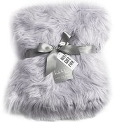 Nicole Miller Light Grey Luxury Mongolian Lamb Wool Faux Fur High Low Throw Blanket Straight Long Hair Plush Lush Artificial Pale Gray Fur