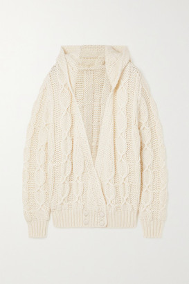 Saint Laurent Hooded Cable-knit Wool-blend Cardigan - White