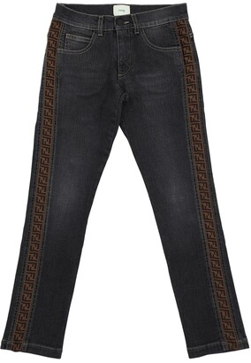 Fendi Logo Band Stretch Denim Jeans