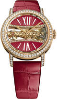 Corum B113/03168 - 113.000.85/0F90 DV91R Golden Bridges 18ct gold with diamonds and alligator leather strap watch