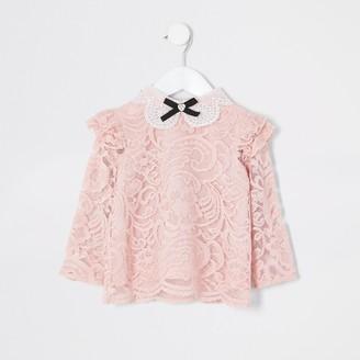 River Island Mini girls Pink lace embellished collar top