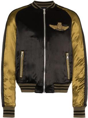 Balmain Logo Beaded Embellished Satin Bomber Jacket