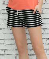 Z Avenue Women's Casual Shorts Black - Black & White Pocket French Terry Shorts - Women & Plus