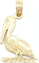 FindingKing Pelican Charm Diamond-Cut 14k Gold 17mm