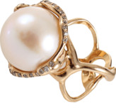 Lucifer Vir Honestus Fresh Water Pearl And Diamond Cocktail Ring