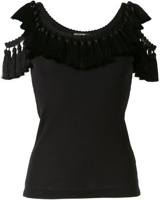 Dolce & Gabbana Cold Shoulder Tassel Trim Vest