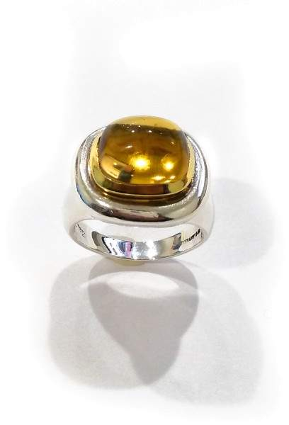 Tiffany & Co. Paloma Picasso Sterling Silver & 18K Yellow Gold Citrine Ring Size 7