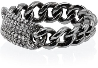 Shay Metallic Silver Chain Link Diamond Ring