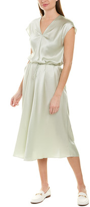 Vince Drape Silk Midi Dress