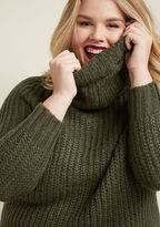 ModCloth Homecoming 'Round the Mountain Sweater in Moss in L - Long Pullover Tunic