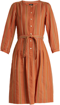 A.P.C. Laly striped cotton-blend dress