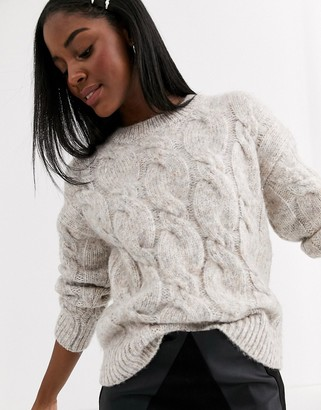New Look cable knit jumper in oatmeal-Beige