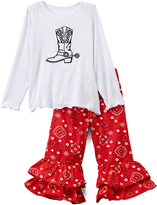 Beary Basics White & Red Boot Tee & Ruffle Pants - Toddler & Girls
