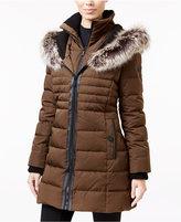 BCBGeneration Faux-Fur-Trim Mixed-Media Down Puffer Coat
