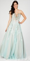 Terani Couture Strapless Beaded A-line Lace Ball Gown