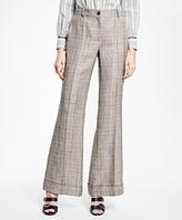 Brooks Brothers Wide-Leg Cuffed Glen Plaid Trousers