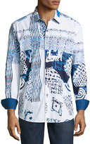 Robert Graham Mesozoic Woven Button-Front Shirt, Blue