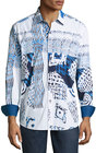robert graham mesozoic woven buttonfront shirt blue