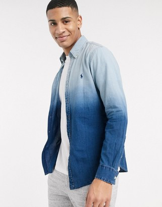 Polo Ralph Lauren slim fit chambray shirt in blue dip dye with logo