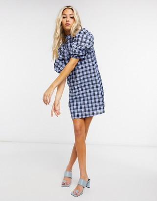 GHOSPELL mini dress with volume sleeves in check