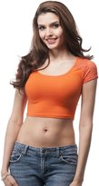 Hollywood Star Fashion short sleeve crop top with lace contrast