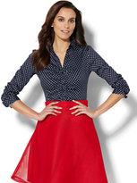 New York & Co. Madison Stretch Shirt - Polka-Dot Print