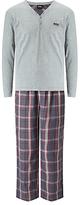Hugo Boss Boss Urban Check Long Sleeve T-shirt And Lounge Pants Set, Grey/red