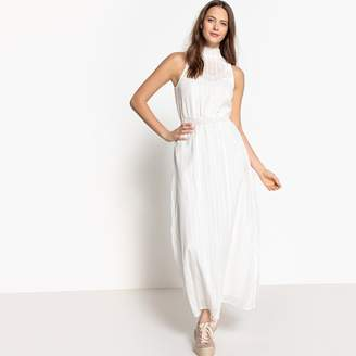 La Redoute Collections High Neck Maxi Dress with Lace Detailing
