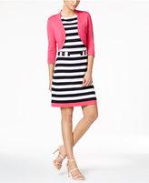 Jessica Howard Petite Striped Sheath Dress and Shrug